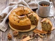 Шарен кекс с орехи, канела и какао